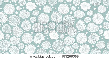 Vector silver grey spring flowers seamless repeat pattern bacgkround design. Great for springtime greeting cards, invitations, wedding, fabric, wallpaper, wrapping projects. Surface pattern design.
