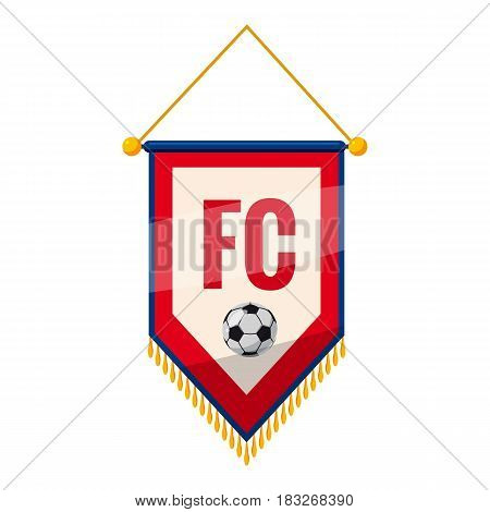 Red and white pennant with soccer ball icon. Cartoon illustration of red and white pennant with soccer ball vector icon for web