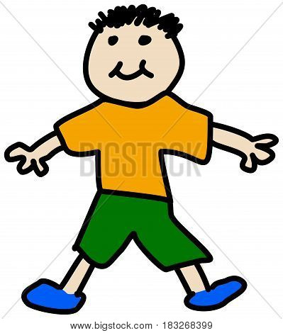 Simple child stickman illustration drawing of boy in t-shirt and shorts smiling isolated on white background