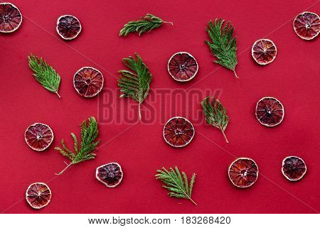 red color set with fresh cut fruit on table top view pattern