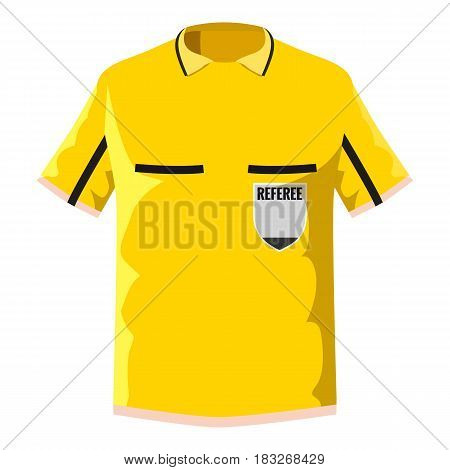 Yellow soccer referee shirt icon. Cartoon illustration of yellow soccer referee shirt vector icon for web