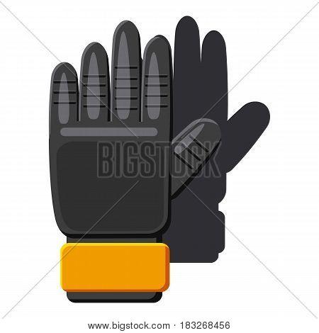 Black soccer gloves icon. Cartoon illustration of black soccer gloves vector icon for web