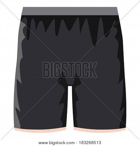 Black soccer shorts icon. Cartoon illustration of black soccer shorts vector icon for web