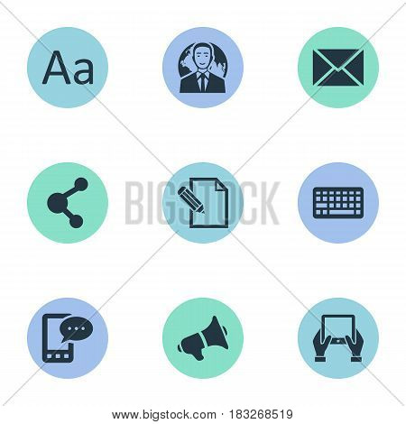 Vector Illustration Set Of Simple Blogging Icons. Elements Loudspeaker, Document, E-Letter And Other Synonyms Keypad, Phone And Alphabet.