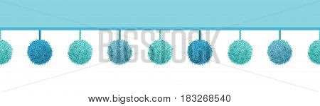 Vector Baby Boy Blue Decorative Pom Poms With Ropes Horizontal Seamless Repeat Border Pattern. Great for nursery room, handmade cards, invitations, wallpaper, packaging, baby girl designs. Surface pattern design.