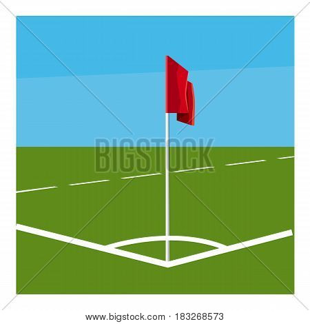 Soccer field corner with red flag icon. Cartoon illustration of soccer field corner with red flag vector icon for web