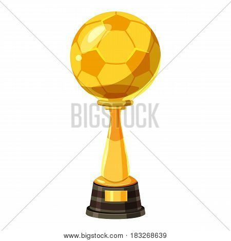 Golden soccer trophy cup icon. Cartoon illustration of golden soccer trophy cup vector icon for web