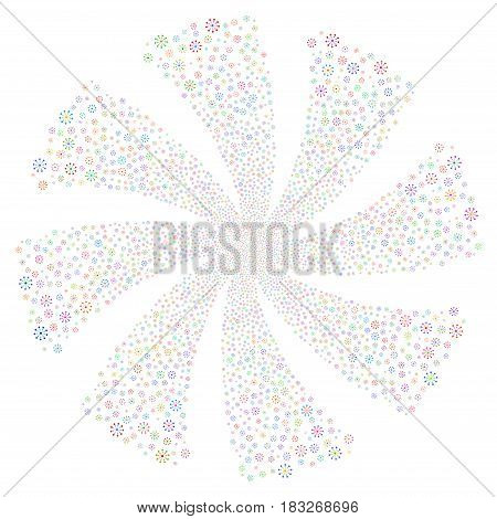 Expanse fireworks swirl rotation. Vector illustration style is flat bright multicolored iconic symbols on a white background. Object whirl combined from random pictographs.