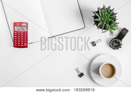 workplace in office with business plan development on white desk background top view mock up