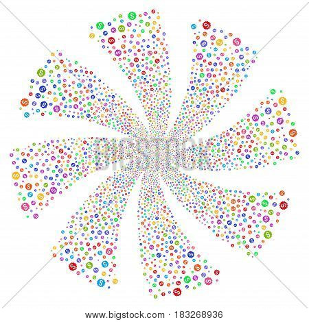 Financial Reward Seal fireworks swirl rotation. Vector illustration style is flat bright multicolored iconic symbols on a white background. Object spiral created from random pictograms.
