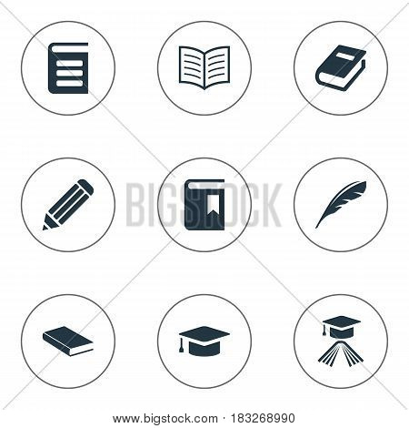 Vector Illustration Set Of Simple Knowledge Icons. Elements Notebook, Plume, Academic Cap And Other Synonyms Pencil, Notebook And Reading.