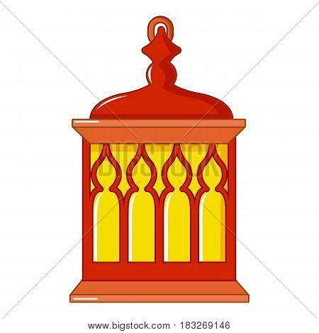 Red and yellow Turkish lantern icon. Cartoon illustration of red and yellow Turkish lantern vector icon for web