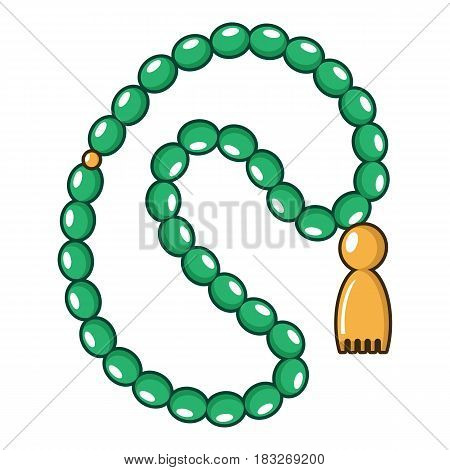Green rosary icon. Cartoon illustration of green rosary vector icon for web