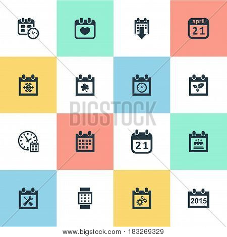 Vector Illustration Set Of Simple Date Icons. Elements History, Plant, Date Block And Other Synonyms Planner, Day And Heart.