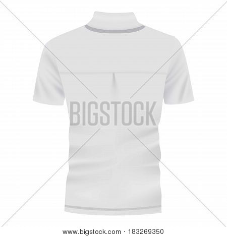Back of white shirt mockup. Realistic illustration of back of white shirt vector mockup for web