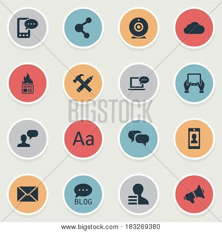 Vector Illustration Set Of Simple User Icons. Elements Post, Share, Overcast And Other Synonyms Cloud, Alphabet And Post.