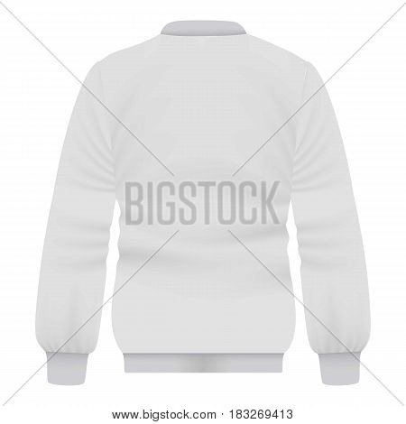 Back of white baseball jacket mockup. Realistic illustration of back of white baseball jacket vector mockup for web