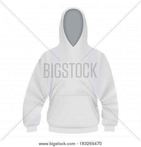 White hoodie mockup. Realistic illustration of white hoodie vector mockup for web