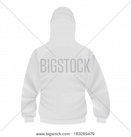 Back of white hoodie mockup. Realistic illustration of back of white hoodie vector mockup for web