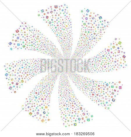 Floppy Disk fireworks swirl rotation. Vector illustration style is flat bright multicolored iconic symbols on a white background. Object flower created from random pictographs.