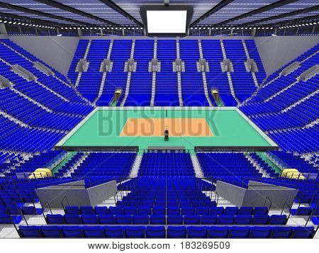 Beautiful Sports Arena For Volleyball With Blue Seats And Vip Boxes