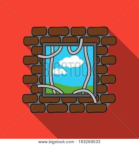 Prison escape icon in flat style isolated on white background. Crime symbol vector illustration.