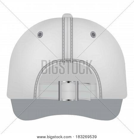 White cap back view mockup. Realistic illustration of white cap back view vector mockup for web