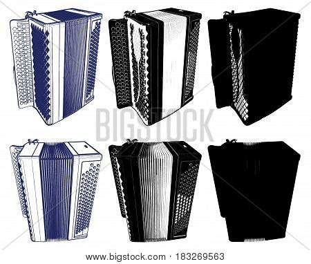 Button Accordion Folk Harmonica Isolated Illustration Vector