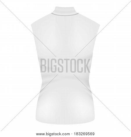 Back of white sleeveless tshirt mockup. Realistic illustration of vector mockup for web