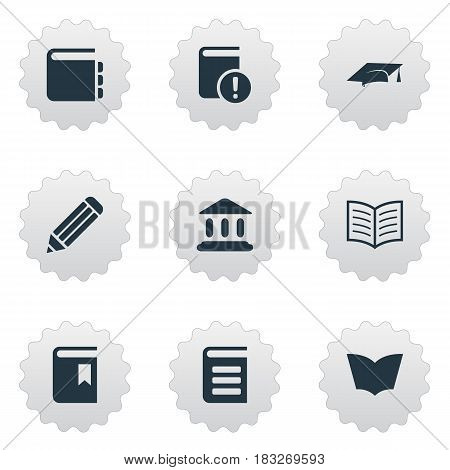 Vector Illustration Set Of Simple Reading Icons. Elements Reading, Academic Cap, Journal And Other Synonyms Building, Pencil And Hat.