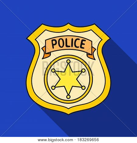 Police officer badge icon in flat style isolated on white background. Crime symbol vector illustration.