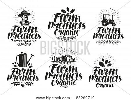 Farm products, label set. Farming, agriculture icon or symbol. Handwritten lettering vector illustration isolated on white background