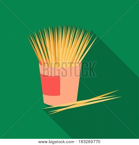 Toothpicks icon in flat style isolated on white background. Dental care symbol vector illustration.