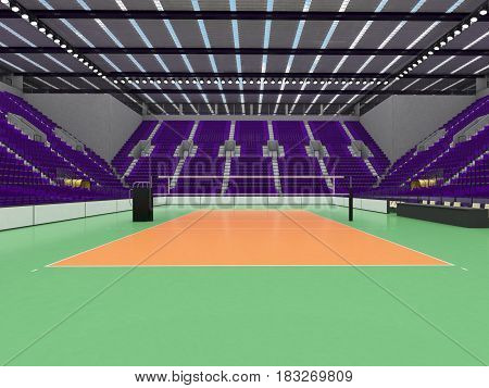 3D Render Of Beautiful Sports Arena For Volleyball With Purple Seats And Vip Boxes