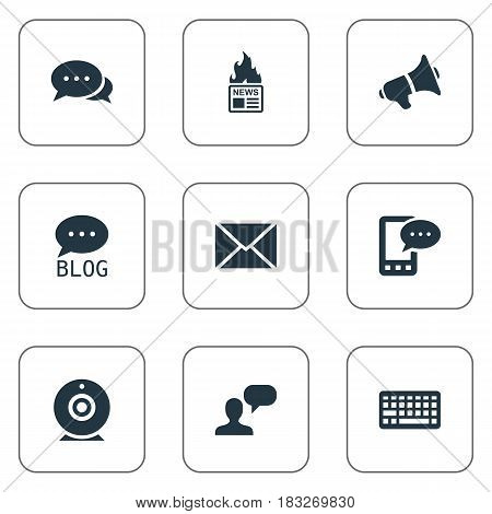 Vector Illustration Set Of Simple Blogging Icons. Elements Gazette, Post, Keypad And Other Synonyms Web, Broadcast And Gazette.