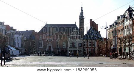 Haarlem, Netherlands, April 5, 2016. Tourists and locals at the central square of Haarlem.