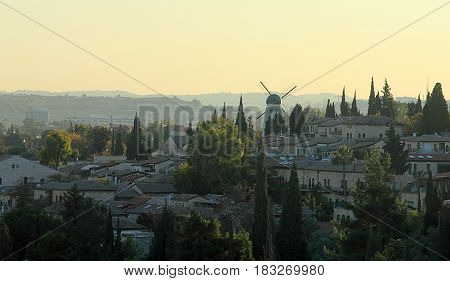 Jerusalem, Israel. View from old city on Montefiore Windmill in the dusk.