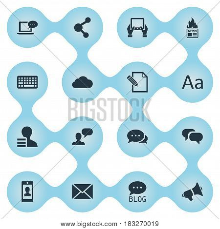 Vector Illustration Set Of Simple Newspaper Icons. Elements Notepad, Gain, Share And Other Synonyms Alphabet, Gossip And Debate.