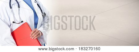 Nurse woman hands with red folder