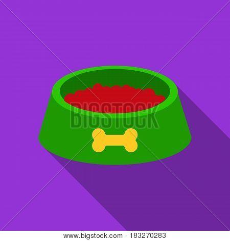 Dog bowl vector illustration icon in flat design