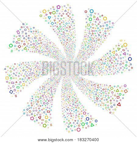Geometric Shapes fireworks swirl rotation. Vector illustration style is flat bright multicolored iconic symbols on a white background. Object whirlpool constructed from random design elements.