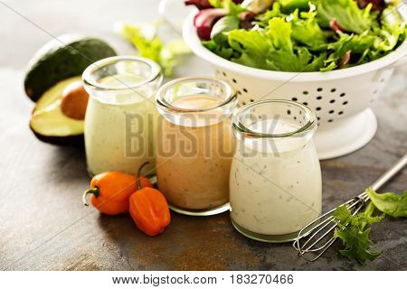 Homemade ranch dressing variety in small jars with herbs, avocado and hot pepper