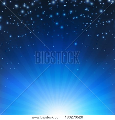 Blue Sunburst Poster