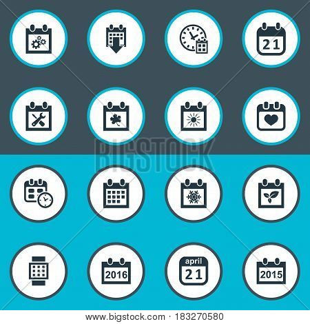 Vector Illustration Set Of Simple Date Icons. Elements Summer Calendar, Almanac, Date Block And Other Synonyms Almanac, Clock And Time.