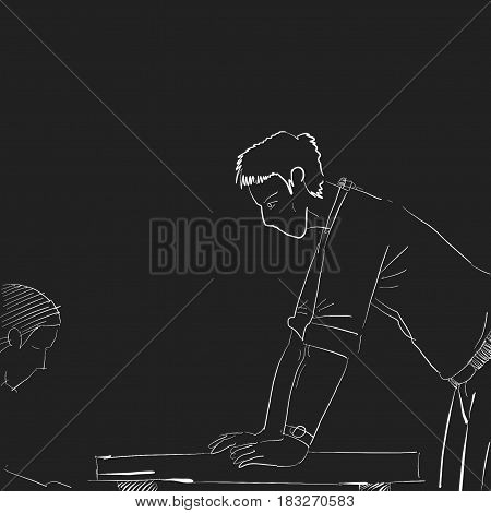 illustration of a boss mad to his suborinate with hands on top of table clipart