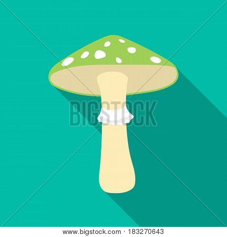 Green amanita icon in flat style isolated on white background. Mushroom symbol vector illustration.