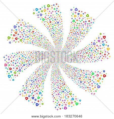 Guard fireworks swirl rotation. Vector illustration style is flat bright multicolored iconic symbols on a white background. Object whirl organized from random pictograms.
