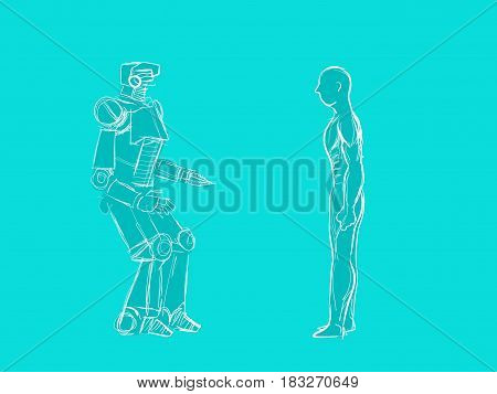 human vs robot illustration with a human standing in front of a robot clipart