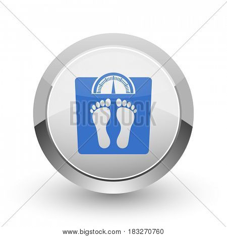 Weight chrome border web and smartphone apps design round glossy icon.