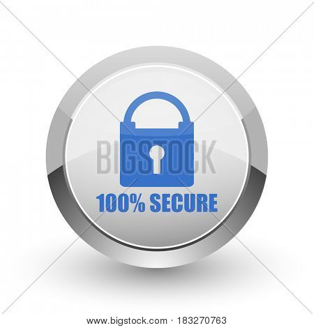 Secure chrome border web and smartphone apps design round glossy icon.